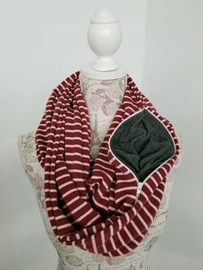 Snack Scarf - Maroon Stripe with Gray Pocket