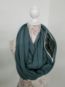 Snack Scarf - Vintage Blue with Floral Pocket