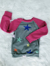 Load image into Gallery viewer, Raglan - Fuschia Stars - 4/5T