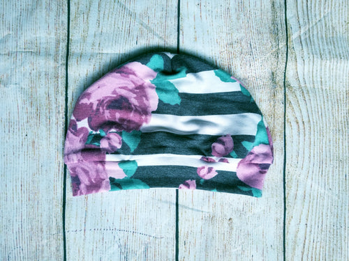 Toddler Beanie - Floral Stripe