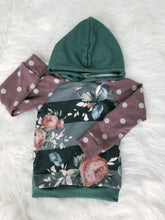 Load image into Gallery viewer, Raglan  Hoodie - Floral Stripe & Dots - 4/5T