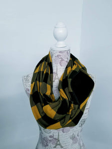 Snack Scarf - Mustard Buffalo with Black Pocket