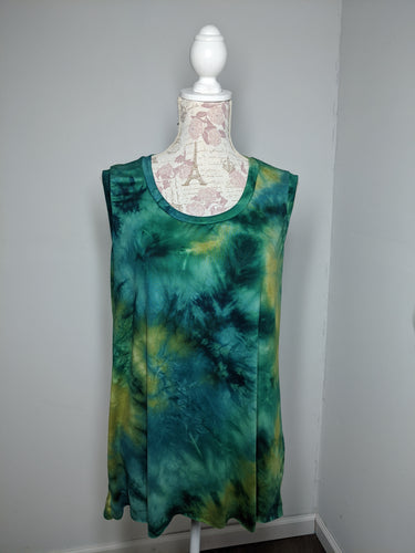 Tie Dye Monica Tanks - Plus 1X (Greens)