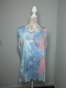Tie Dye Monica Tanks - Plus 2X (Cotton Candy)