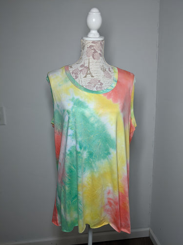 Tie Dye Monica Tanks - Plus 3X (Sherbet)