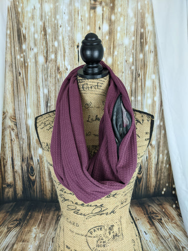 Snack Scarf - Dusty Plum with Floral Pocket