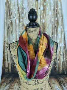 Snack Scarf - Fall Tie Dye with Forest Green Pocket