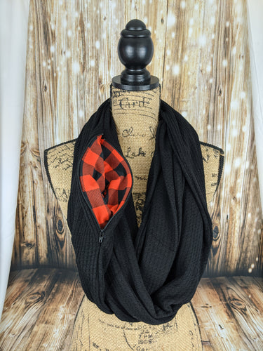 Snack Scarf - Black with Buffalo Plaid Pocket