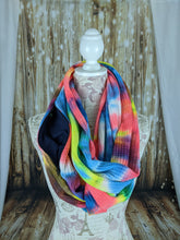 Load image into Gallery viewer, Snack Scarf - Neon Tie Dye with Dark Navy Pocket