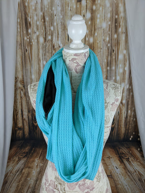 Snack Scarf - Turquoise with Black Pocket