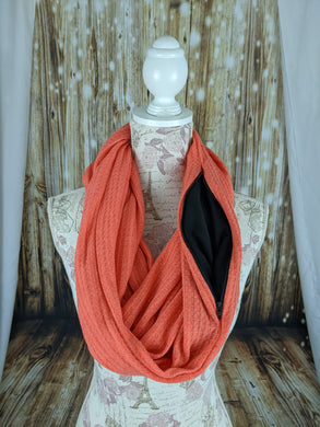 Snack Scarf - Coral with Black Pocket