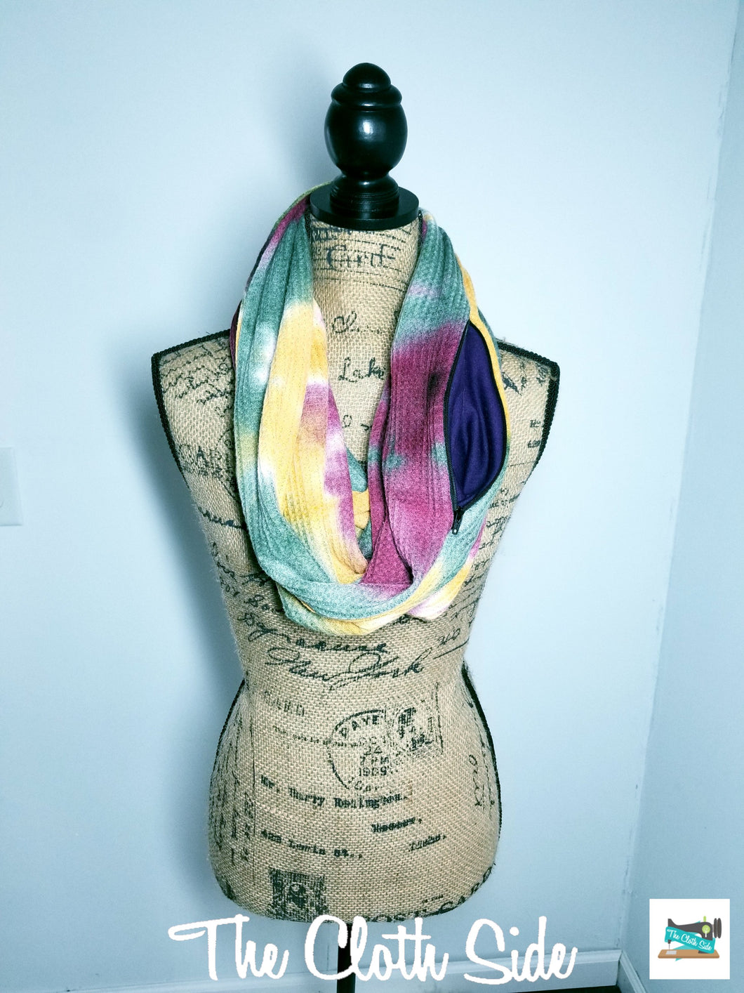 Snack Scarf - Tie Dye with Purple Pocket