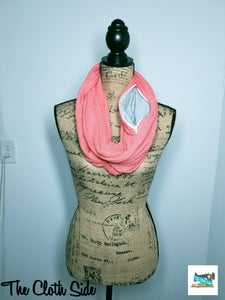 Snack Scarf - Salmon Pink with Gray Glitter Pocket