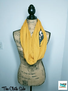 Snack Scarf - Mustard with Floral Pocket