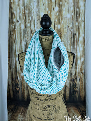 Snack Scarf - White Turquoise Grid with Gray Pocket