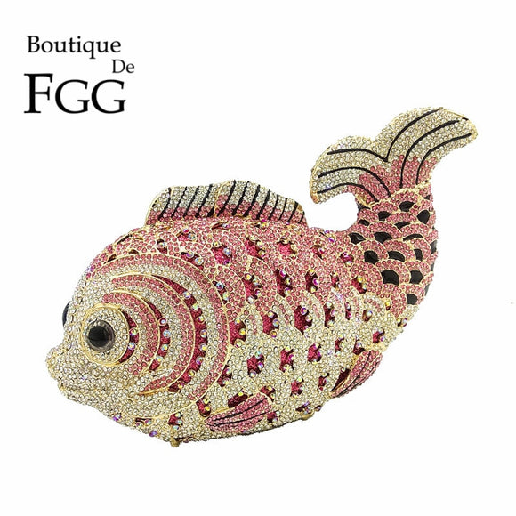 Boutique De FGG Multi Pink Crystal Diamond Women Fish Evening Clutch Bag Bridal Mini Metal Handbag and Purse Wedding Clutches