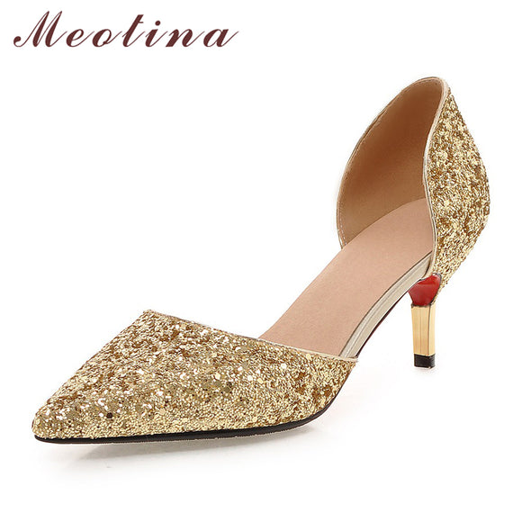 Chumani - Meotina Bridal Weeding Shoes Women High Silver Heels Two Piece Party Pumps Stilettos Autumn Big Size 43 chaussures femme talon