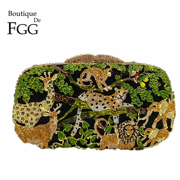 Animal Zoo Jungle Tiger Deer Metal Women Crystal Evening Bag Clutches Minaudiere Handbag Hard Bridal Wedding Party Clutch Purse