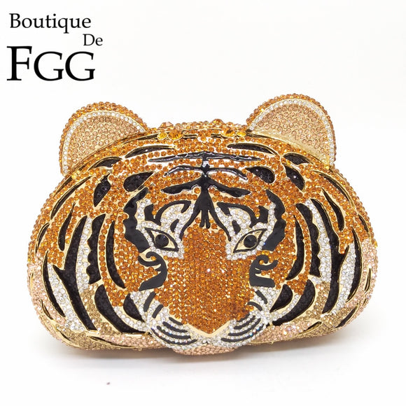 Boutique De FGG Tiger Face Rhinestone Women Handbags Crystal Bag Evening Metal Clutches Purse Hollow Out Diamond Wedding Clutch