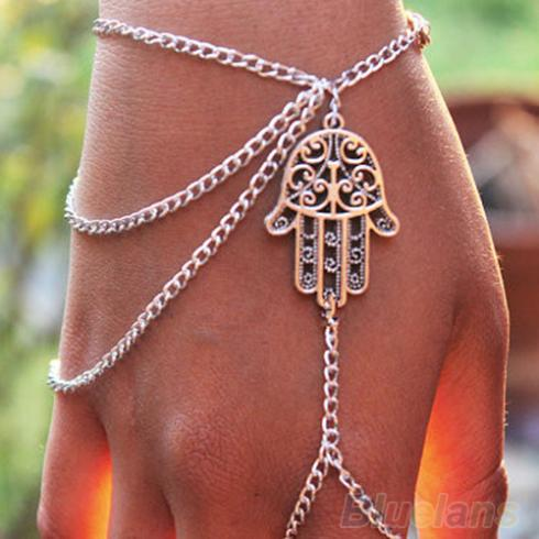 Bluelans Hot 2014 Asymmetric Mens fashion Women Hamsa Fatima Finger Ring Slave Chain Hand Harness 0007 01G7
