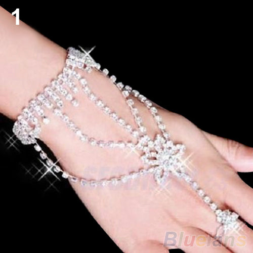Bluelans Bridal Wedding bracelets Crystal Rhinestone Slave Bracelet Wristband Harness Cuff  bracelets for women 018W