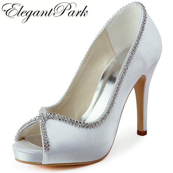 Woman Wedding bridal Shoes High heel platform White Ivory silver Satin lady female bride bridesmaid Party evening Pumps EP11083