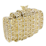 Boutique De FGG Dazzling Gold Crystal Women Evening Bags Hollow Out Stones Beaded Wedding Clutch Bridal Diamond Minaudiere Purse