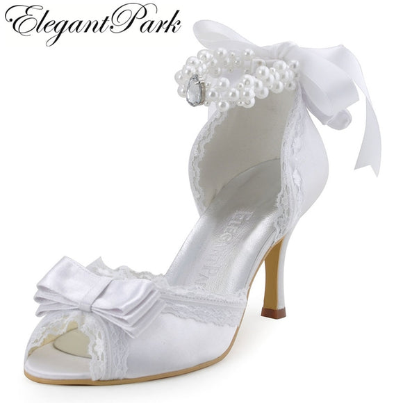 Woman Wedding Shoes A3202 Ivory White High Heel Pearls Ankle Strap Peep Toe Bow Satin Lady bride Evening Prom dress Bridal Pumps