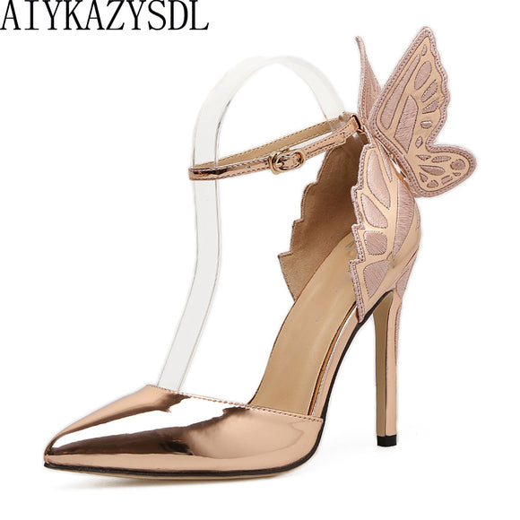 AIYKAZYSDL Women Pointed Toe Pumps Wing 3D Butterfly Embroidery High Heel Ankle Strap Soes D'orsay Metallic Stiletto Shoes Dress