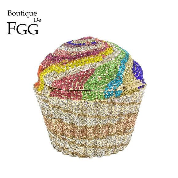 Boutique De FGG Women Fashion Cupcake Crystal Clutch Evening Bags Wedding Party Bridal Diamond Minaudiere Handbag Clutches Purse