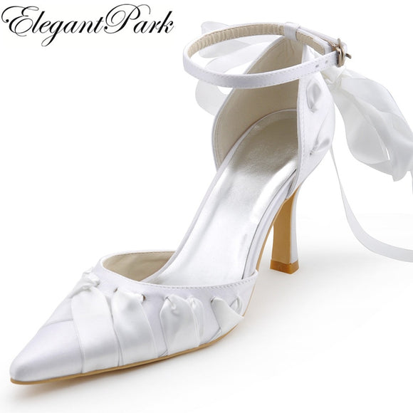 Sacnite - Ribboned Pointy Toe Bridal Shoe with Ankle Strap