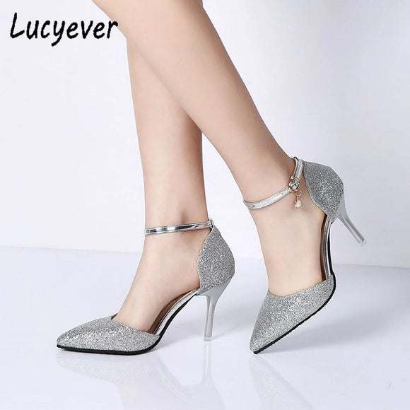 Lucyever Fashion Buckle Crystals Bling Pumps Women Elegant Thin High Heels Point toe Party Wedding Shoes Woman Glod Sliver Black