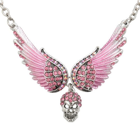 YACQ Women's Angel Wings Necklace with Dangling Skull