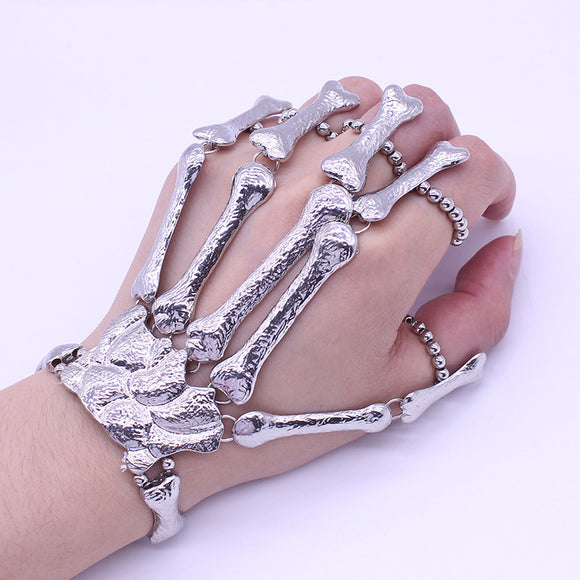 Hip Hop Hand Chain Silver Skull Gothic Bracelet Skeleton Hand Bangles Flexible Fingers Bone Metal Fashion Slave Bracelets