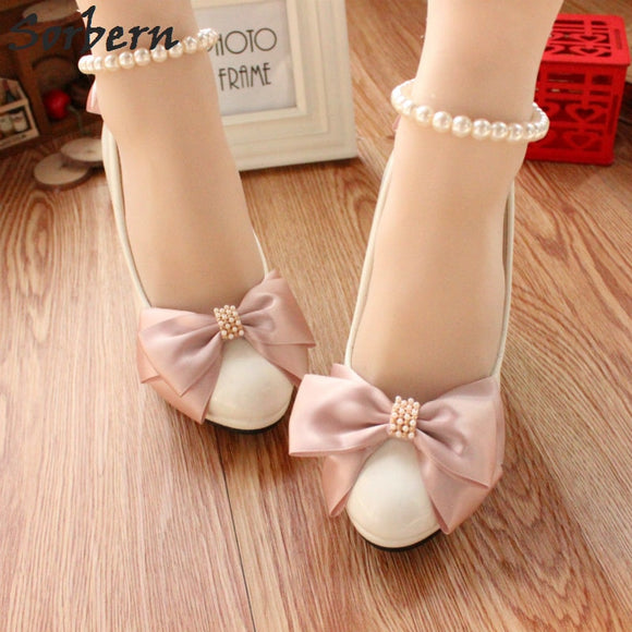Kyah - Blush Pink Bridal Shoes with Bows and Pearl Ankle Straps