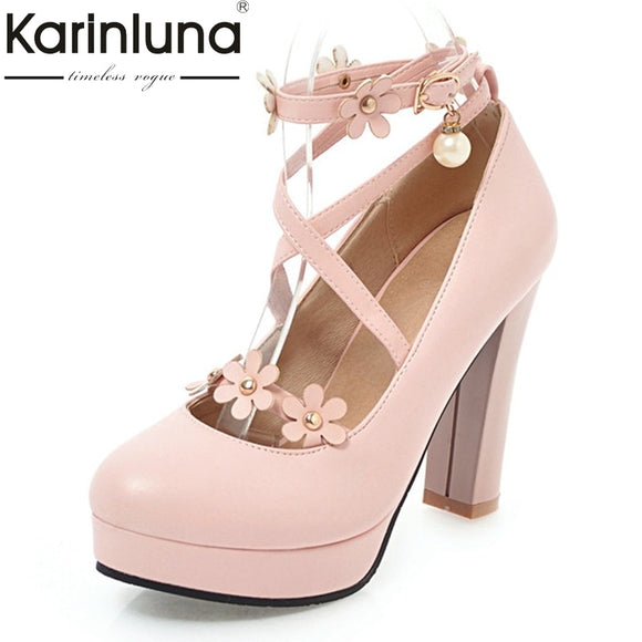 KarinLuna Women's Ankle Strap Flower Chunky High Heel Pumps Platform Party Wedding Bridal Shoes Woman Big Size 33-43