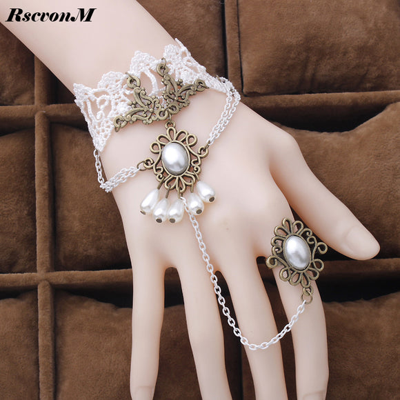 RscvonM 1 pcs Fashion Style Women Handmade Red Rose Lace Flower Drop Bracelet Slave Set Lolita Gothic Ball Retro Bridal