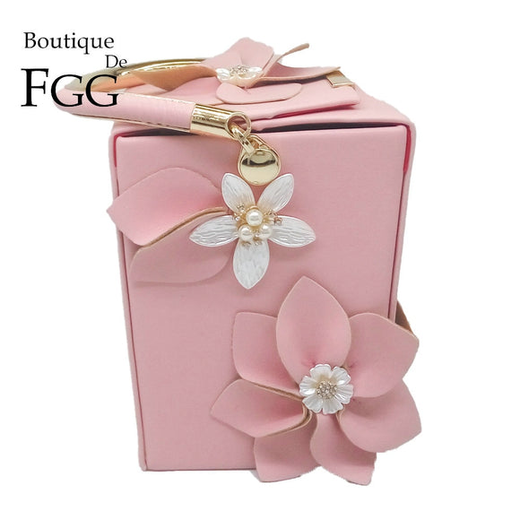 Boutique De FGG Unique Design Gift Box Shape Women Flower Clutch Evening Tote Bag Floral Beaded Wedding Handbag Purse Ladies Bag