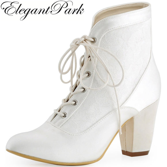Sahalie - Satin and Lace Wedding Bootie