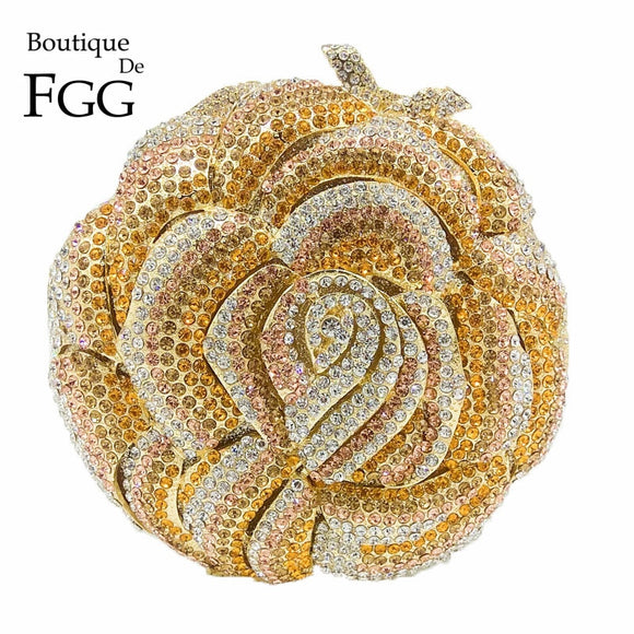 Boutique De FGG Multi Crystal Blooming Flower Clutch Handbag Women Evening Purse Metal Wedding Prom Minaudiere Party Clutch Bag