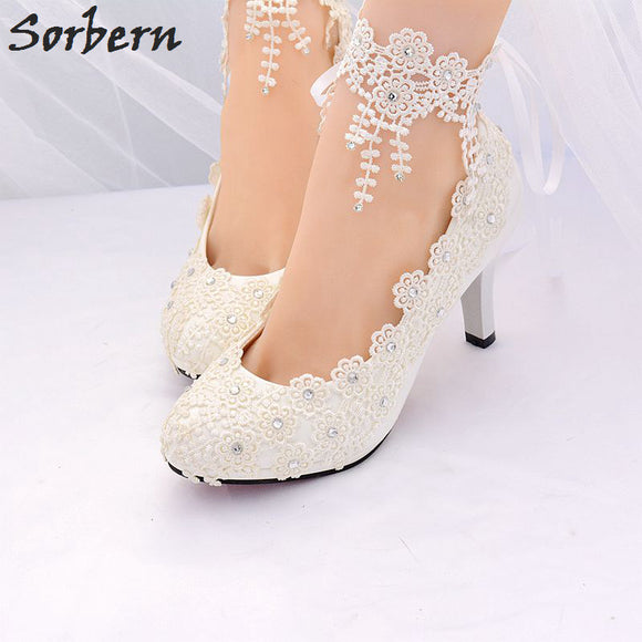 Helki -  White Bridal Pumps w/ Lace Applique Ankle Strap