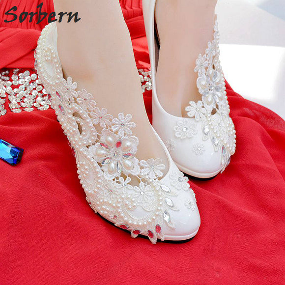 Citana -  White Lace Pumps w/ Silver and Pearl Beads