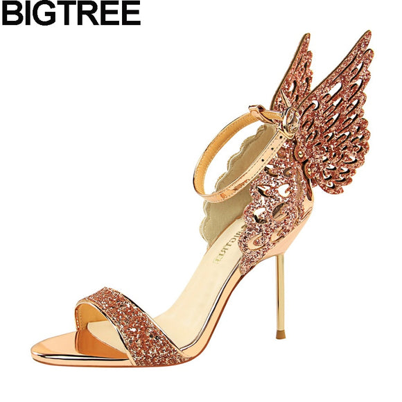 BIGTREE Sexy Summer Women High Heels Sandals Bling Sequined Glitter Butterfly Wing Shoes Metal Thin Heel Stilettos Crystal Shoes