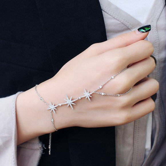 MIGGA Trendy Zirconia Crystal Stars Slave Chain Bracelet for Women Finger Hand Adjustable Chain Jewelry