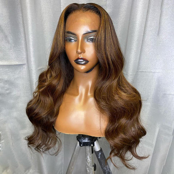200% Density Warm Brown Classic Body Wave Lace Frontal Wig