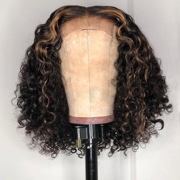 Natrual Black Ombre Honey Brown Wet And Wavy Bob Lace Frontal Wig