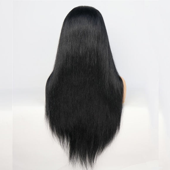 1 Jet Black Virgin Human Hair Lace Front Wig