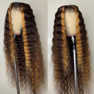 Ombre Light Brown Highlights Deep Wave Curly Lace Frontal Wig