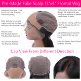 Body Wave With Bang 13x4 Fake Scalp Lace Front Wig