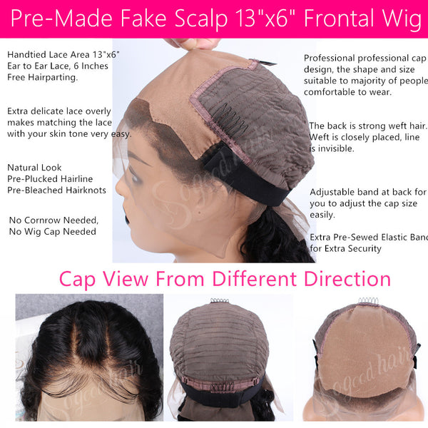 Body Wave with Bang 13x6 Fake Scalp Lace Frontal Wig
